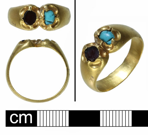 NMS-2087B3: Gold gem set Medieval finger ring
