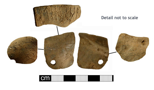 NMS-63179C: Lead middle Saxon lead plaque with runic inscription
