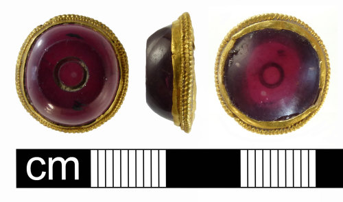NMS-58786B: Middle Saxon gold and garnet brooch mount