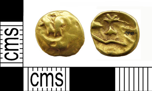 NMS-76BB6C: Iron Age coin: Gallo-Belgic boat-tree type quarter stater