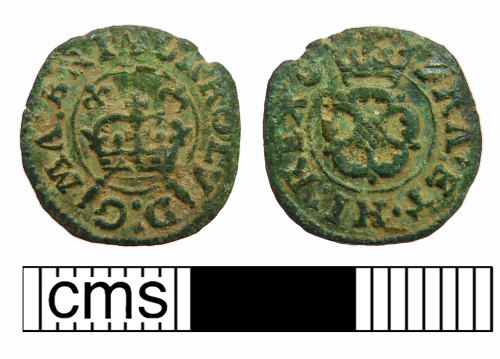 NMS-1D636C: Post Medieval coin: Rose farthing of Charles I