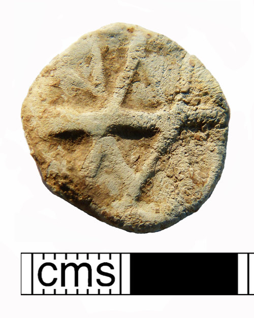 NMS-B42239: Post Medieval uniface dicoidal lead alloy token