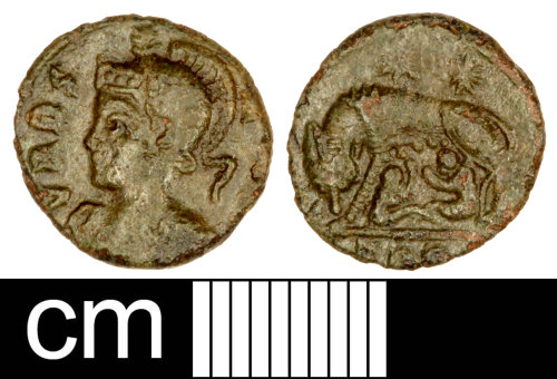 SOM-978E97: Roman Coin: Nummus of the House of Constantine