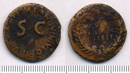 SOMDOR-C6ED32: Roman Coin: Dupondius or As of Augustus
