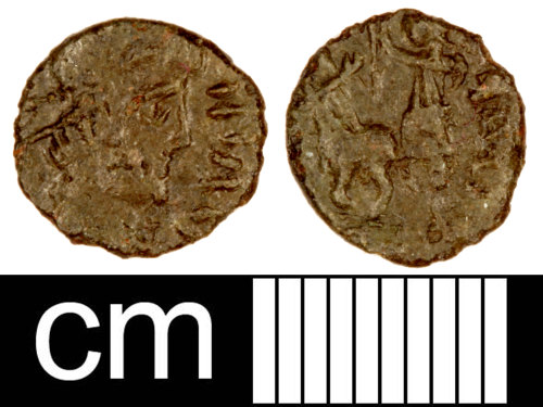SOM-FC8B46: Roman Coin: Contemporary Copy of a Nummus of the House of Constantine