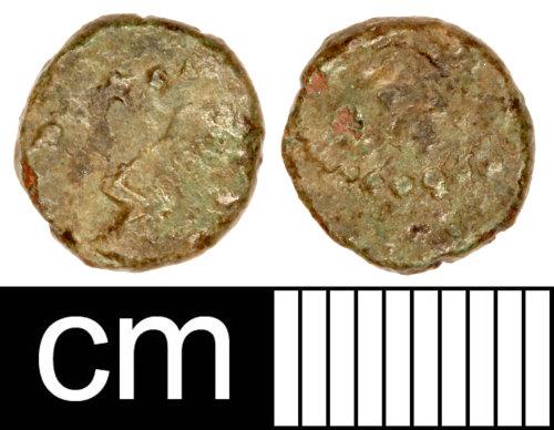 SOM-FF1F51: Roman Coin: Contemporary Copy of a Nummus of Constantius II