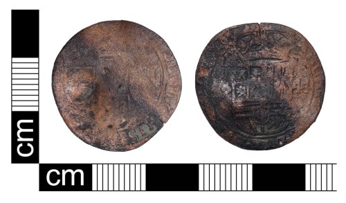 PUBLIC-4002B9: A complete post medieval copper alloy coin of Phillip IV of Spain (AD 1621-1665) valuing one liard and of date 1644 found in Greater Londong