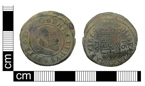 PUBLIC-5B23CD: Post medieval copper alloy coin of Phillip IV of Spain and the Spanish Netherlands (AD 1621-1665) valuing 16 Maravedis dated AD 1664 found in Greater London