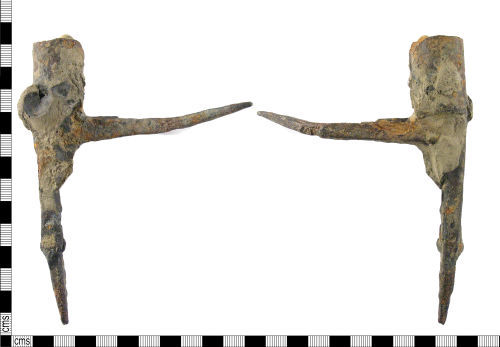 LON-2BC996: A medieval iron candle holder dating AD 1270-1400.