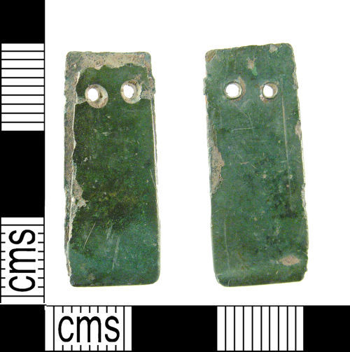 LON-2B98B7: A medieval copper alloy strap end dating to the 14th century.