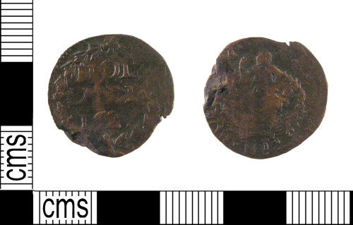 LON-2A6910: A post medieval copper alloy duit (penny) from the reign of Frederick Henry (AD 1625-1647) dating AD 1627.