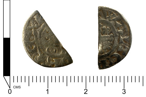 SWYOR-2B9797: Medieval coin; a cut half short cross penny of John