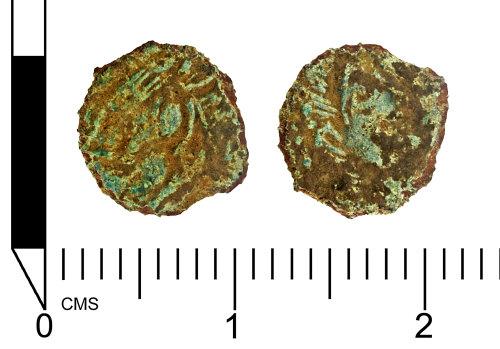 SWYOR-6C10A4: Roman coin; a nummus of the House of Constantine,