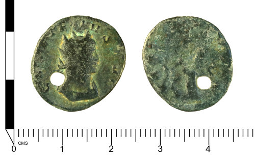SWYOR-9EE465: Roman coin: Radiate of Gallienus, perforated for reuse as a pendant