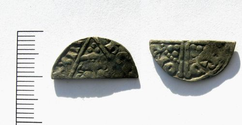 LEIC-1BC602: Cut Irish halfpenny of Henry III