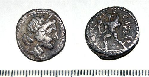 A resized image of Roman coin: Republican denarius of Julius Caesar