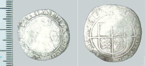 CAM-CE85D4: Post medieval coin: Sixpence of Elizabeth I
