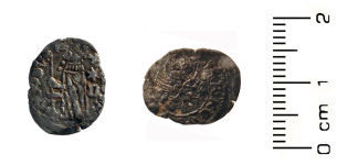 A resized image of Medieval Coin: Silver Venetian soldino ('galley halfpence') of Antonio Venier (1382-1400).