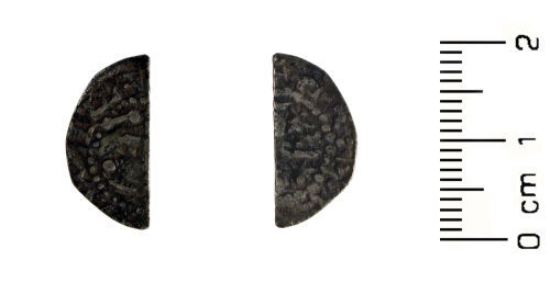 HESH-061EC6: Medieval Coin: Silver cut half-penny of William I 'the lion' of Scotland, Short Cross Phase B c. 1205-1230.