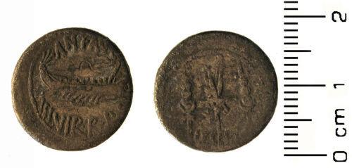 HESH-062005: Roman Coin: republican denarius of M. Antonius,