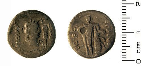 HESH-069E05: Roman: republican denarius of moneyer Q. Metell Scipio with Eppis Leg FC