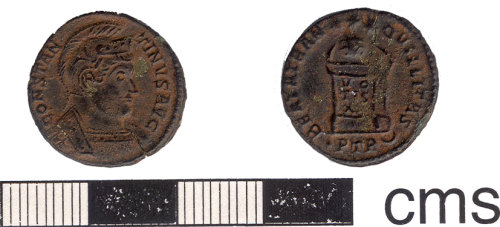 HESH-08DFD4: Nummus of Constantine I minted in the first mint (prima) Trier between 318 - 324.