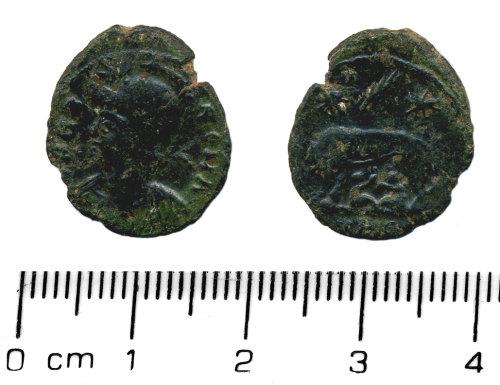 HESH-0BDCA5: Nummus of the House of Constantine. URBS ROMA - AD 330-335