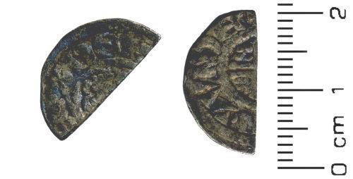 HESH-165658: Medieval Coin: Cut halfpenny of John or Henry III