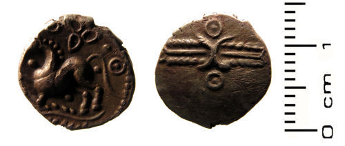 HESH-18F541: Iron Age coin: Gold Quarter Stater (Eastern) attributed to Dvbnovellaunos