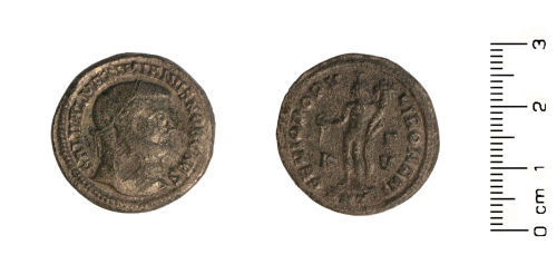 HESH-4A07C4: Roman Coin: Copper alloy nummus of Maximinian I, struck 294-305 (reform coinage) in Antioch