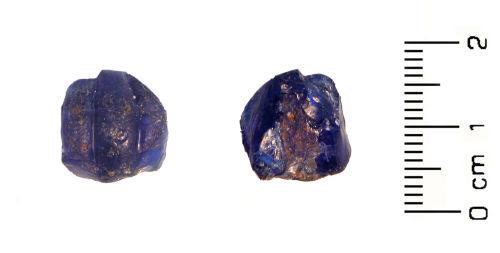 HESH-4B1DE2: Roman: blue glass melon bead