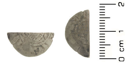 HESH-5CD963: Medieval coin: cut half penny of Henry III