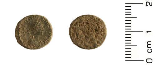 HESH-7B7888: Roman Coin: Nummus of the Emperor Theodosius (379-395).