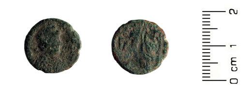 HESH-8116B5: Roman Coin: Bronze nummus of later Roman date probably 364-378 AD