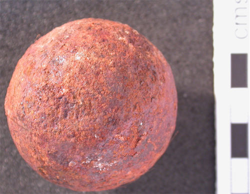 HESH-8C0315: Small cannon ball of probable post-medieval (English Civil War) date (1600-1700AD)