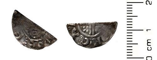 HESH-95B203: Medieval Coin: Cut halfpenny of John