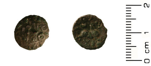 HESH-B13CD4: Iron Age Coin: Silver unit of the Dobunni tribe, provisionally dated to the late Iron Age 20 BC - 50 AD.