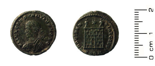 HESH-B1C990: Roman Coin: Nummus of Constantius II, Camp-gate type: Mint London, struck between 324-326 AD.