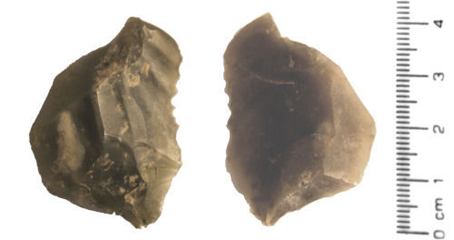 HESH-BC50F6: Flint waste flake (debitage) from tool production of probable Neolithic date (3500 - 2100 BC).