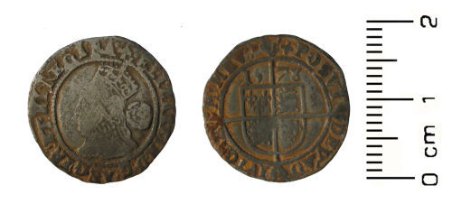 HESH-C48397: Post medieval Coin: threepence of Elizabeth I