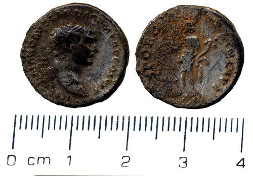 HESH-F9B123: Denarius of Trajan minted between AD 103 and 111