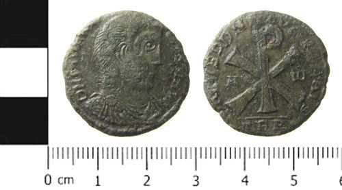 FAPJW-5B79F4: Roman Coin: Copy of Nummus of Magnentius
