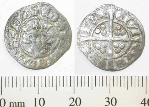 DENO-6F9FE7: Medieval coin: Penny of Edward II or III.