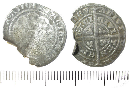 DENO-12F5A7: Medieval coin; Edward III halfgroat, Pre-Treaty Series D, York