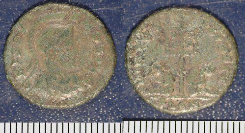 NMGW-7D8B32: Crispus Caesar nummus, 317-326AD.