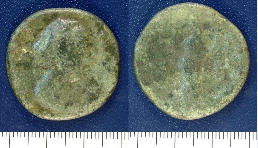 NMGW-8AE557: Diva Faustina I sestertius, c. 141 AD.