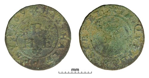 PUBLIC-DBB474: Post-medieval token: halfpenny token issued for the King's Head, Quendon Street (probably)