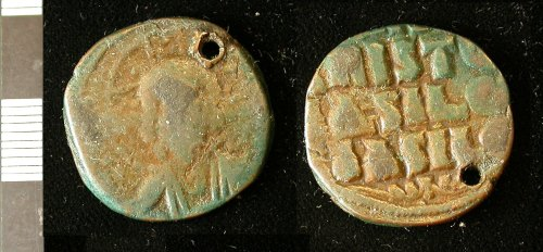 LEIC-187C40: Early Medieval Byzantine copper alloy anonymous follis of the 10th-11th century