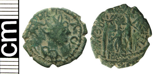 HAMP-892F00: Roman coin: Irregular radiate of uncertain ruler