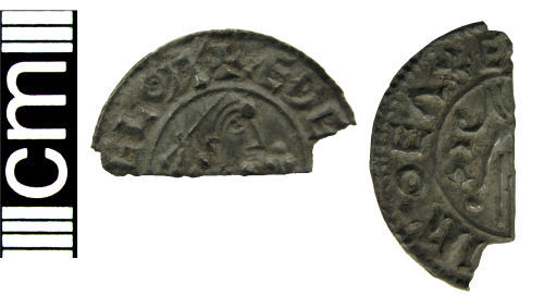 HAMP-ACFED2: Early medieval coin: Cut halfpenny of Aethelred II